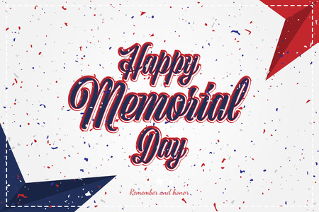 Happy Memorial Day. Greeting card with original font and stars. Template for American holidays with texture. Flat illustration EPS10 Illustration