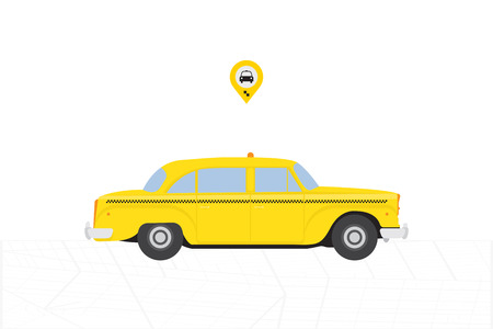 Taxi Car in retro style from New York. Yellow car with icon on white background