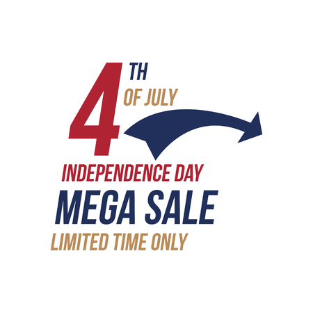 Flyer Celebrate Happy 4th of July - Independence Day with Mega sale National American holiday event. Flat Vector illustration EPS10