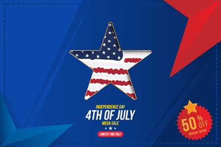 Flyer Celebrate Happy 4th of July - Independence Day. Mega sale with star and sticker 50 off. National American holiday event.