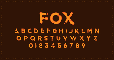 Fox Original font in cartoon style for creative design template. Illustration