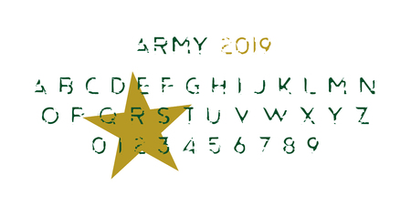 Army Original font a set of letters and numbers. Alphabet for creative design template.