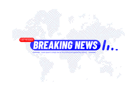 Breaking News template title with technology world map on white background for screen TV channel.