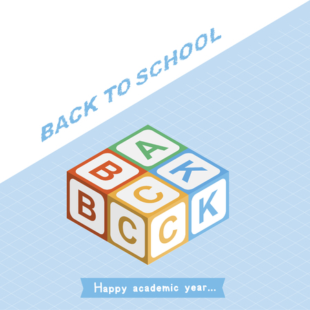 Welcome Back to school. Invitation square banner with colored cubes for children in isometric style. Vector illustration EPS10