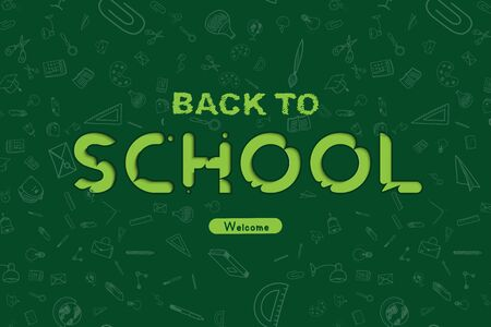 Welcome Back to school. Banner with set of doodle icons on green background. Concept for education. Vector illustration