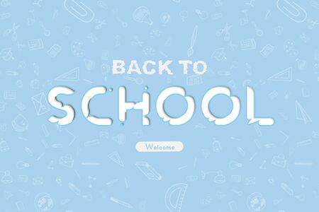 Welcome Back to school. Banner with set of doodle icons on blue background. Concept for education. Vector illustration Stock Photo