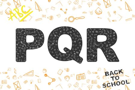 Back to school. original font, with doodles of icons on the theme of education.