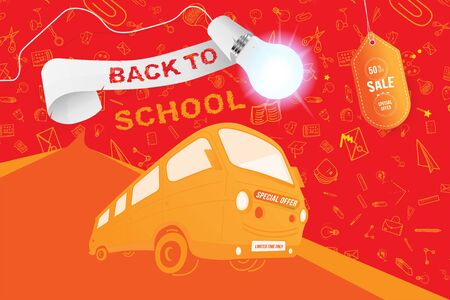 Back to School on the yellow bus. Super Sale 50% special offer. Set icons with ribbon and realistic light bulb with lighting. Flat Vector Illustration