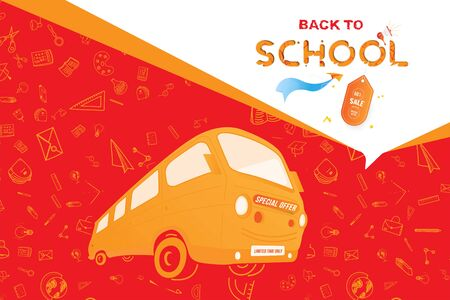 Back to School with yellow bus. Super Sale 50 special offer. Set icons with a paper airplane and label. Flat Vector Illustration