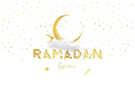 Muslim feast of the holy month of Ramadan Kareem. Greeting card template with crescent moon and cloud with light effects. Flat vector illustration