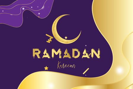Muslim feast of the holy month of Ramadan Kareem. Greeting card template with crescent moon and stars with light effects on the paper cut waves. Flat vector illustration