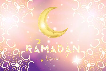 Muslim feast of the holy month of Ramadan Kareem. Holiday card with a golden moon and with traditional golden patterns on a bright background with illuminations. Flat vector illustration