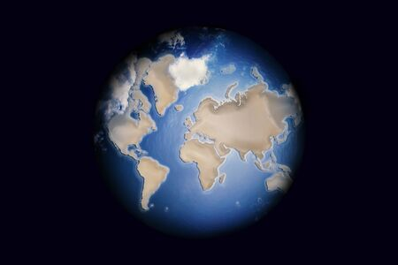 Daytime Globe with clouds isolated on dark background.