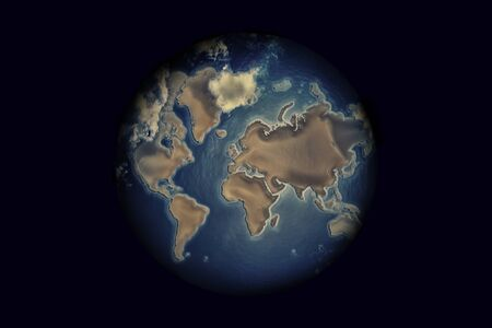 Night Earth Globe with clouds isolated on dark background.