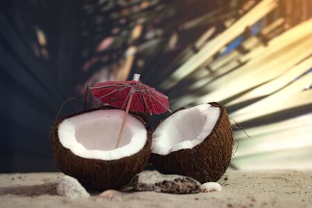 Time to travel. Two halves of a coconut with an umbrella on the beach against the backdrop of a palm leaf. Concept on the topic of tourism.