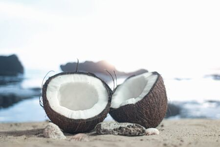 Time to travel. Two halves of coconut on the beach against the backdrop of sea