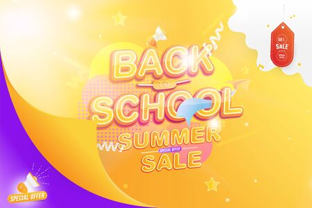 Banner Back to School. Summer Sale 50% Text effect with a paper airplane and a loudspeaker. Festive poster on the background with light effects. Flat Vector Illustration EPS10.