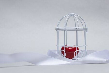 Idea on the theme of love. Decorative cell with a red heart in captivity on a light background Stockfoto