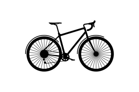 Road sports bike on a white background. Environmentally friendly transport for outdoor activities. Flat illustration EPS10