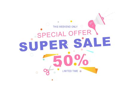 Super Sale tag with 50 special offer on white background. Font inscription with loudspeaker and scissors. Flat Vector Illustration EPS10