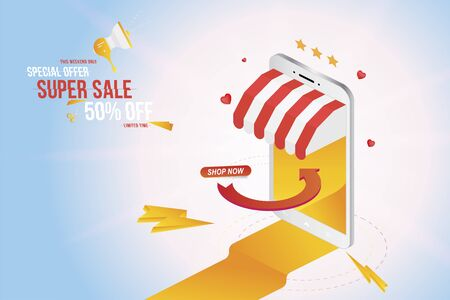 Online shopping in smartphone with super sale 50 offer. Phone on the background with lights effects. Flat Vector Illustration EPS10.