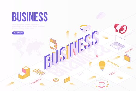 Business web banner concept. Creative design template with Isometric objects and three dimensional text with world map. Idea, Internet, sale, business, finance and more. Flat vector illustration