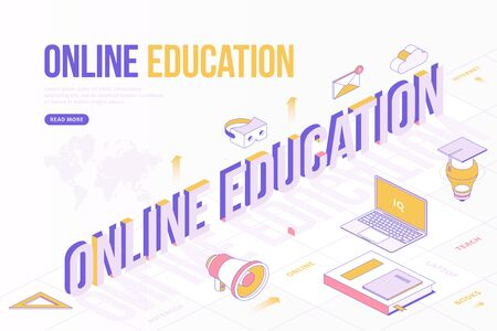 Online Education web banner concept. Creative design template with Isometric objects and three dimensional text with world map.