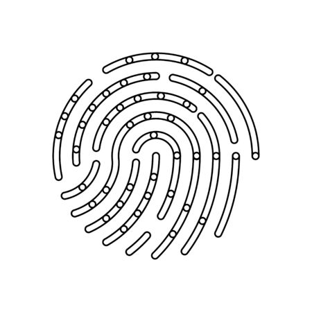 Fingerprint icon for identifying internet applications and mobile devices. Flat vector illustration EPS10