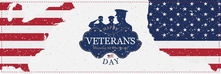 Veterans Day. Greeting card with USA flag on background.