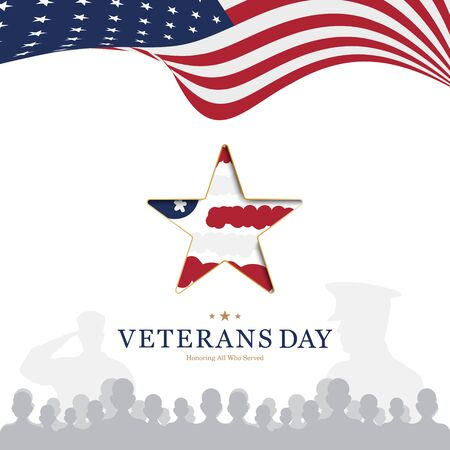Veterans Day. Greeting card with USA flag and star on background National American holiday event.