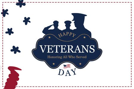 Veterans Day. Greeting card with USA flag on background. National American holiday event.