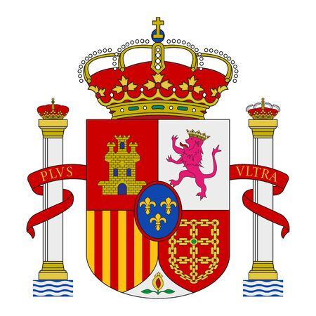 Spanish coat of arms with crowns, a lion and a castle on the background of a shield. Flat vector emblem