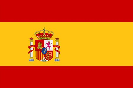 Spanish Flag with coat of arms with crowns, a lion and a castle on the background of a shield. Flat vector emblem  イラスト・ベクター素材