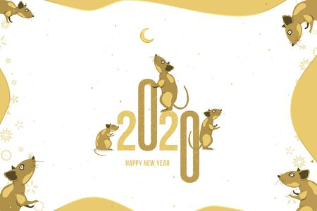 Happy new year. 2020 Chinese year of the Rat. Greeting card with family of rats and golden moon on a light background. Flat vector illustration EPS 10.
