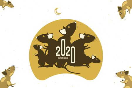 Happy new year. 2020. Chinese year of the Rat. Flat vector illustration EPS 10.