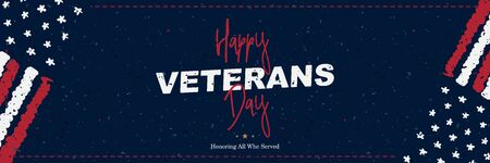 Veterans Day. Greeting card with USA flag on background. National American holiday event. Flat vector illustration
