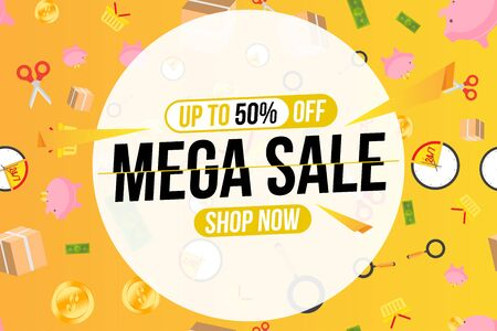 Mega Sale banner template design. Special offer 50% and pattern with shopping icons. Flat Vector Illustration 일러스트