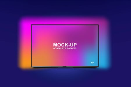 Mock-up of realistic backlit tv with OLED technology. Futuristic home appliances for home on a blue background.