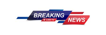 Breaking News template title with world map on white background for screen TV channel. Flat vector illustration EPS10.