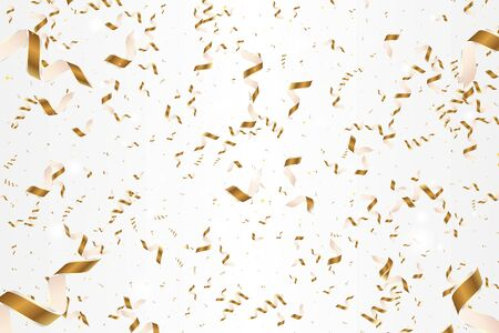 Shiny golden confetti isolated on white background. Bright festive ribbons in gold color.