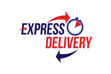 Express delivery icon. Fast shipping with timer with inscription on white background. Illustration