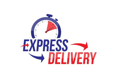 Express delivery icon. Fast shipping with timer with inscription on white background. 일러스트