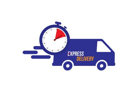 Express delivery icon. Fast shipping with truck timer with inscription on white background.