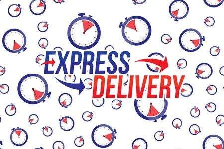 Express delivery icon. Fast shipping with timer and pattern on white background. Archivio Fotografico - 138452036