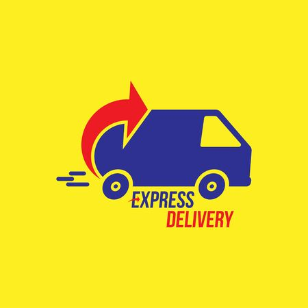 Express delivery Logo. Fast shipping with truck timer with inscription on white background. Archivio Fotografico - 138452037