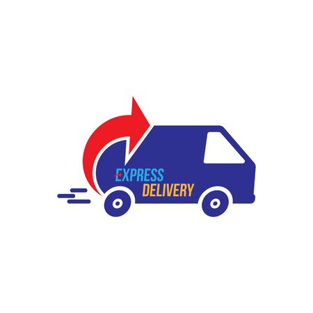 Express delivery Logo. Fast shipping with truck timer with inscription on white background.
