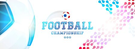 Soccer championship. Banner template horizontal format with a football ball and text on a background with a bright light effect.