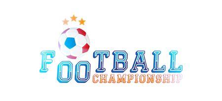 Football championship. Logo with original font inscription and ball. Stock Illustratie