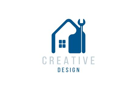 Home Logo design template. Creative element for real estate company with wrench Icon and silhouette of the house. Flat vector illustration Stock Illustratie