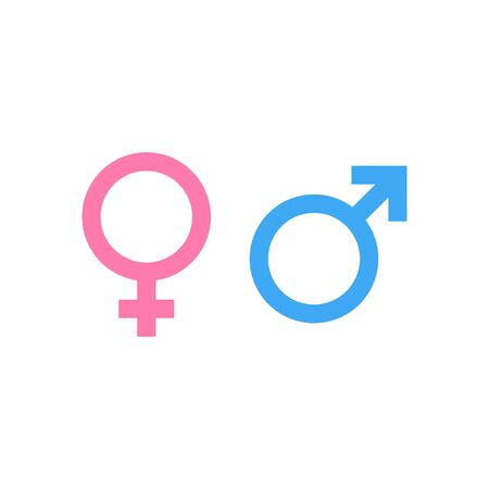Male and female symbol in blue and pink colour. Gender icon for man and woman. Flat vector illustration